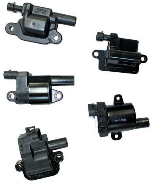 LS-series ignition coils are interchangeable. As an example, you can swap a 2002 Corvette ignition coil bracket assembly (ignition coils, mounting bracket, and coil harness) with a 2008 Corvette ignition coil bracket assembly. General Motors has designed each ignition coil pack harness to be universal to any LS-series engine wire harness. General Motors has used a variety of ignition coils with LS-series engines. GM# 12558948 ignition coil (bottom left) is only used with the LS1 and LS6 engine in the Camaro, Firebird, Corvette, and Cadillac CTS-V. GM# 12573190 ignition coil (middle left) and GM# 12611424 ignition coil (top left) are used with 2005-newer cars, trucks, and vans. GM# 10457730 ignition coil (bottom right) and GM# 12558693 (top right) are used with 1999–2007 trucks and vans.