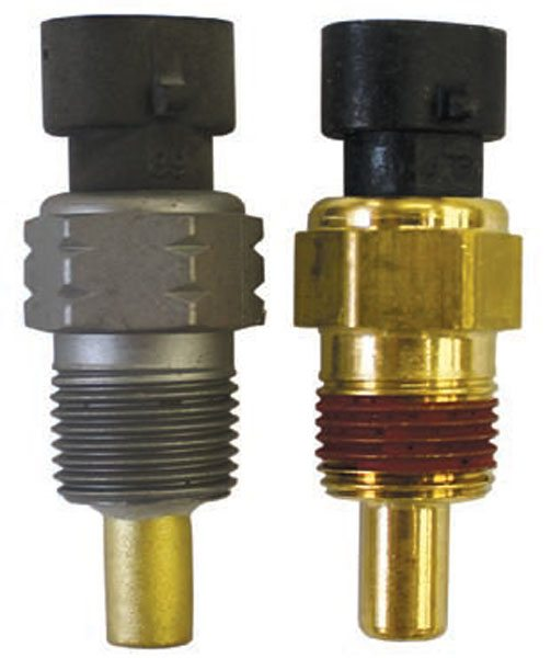 The TPI ECT sensor (left) has a steel housing and is installed in the front of the intake manifold. The LT1 ECT sensor (right) is functionally the same, but has a brass housing. Featuring the same 3/8-inch, 18 NPT thread, the replacement TPI sensor is now the same as the LT1 ECT sensor.