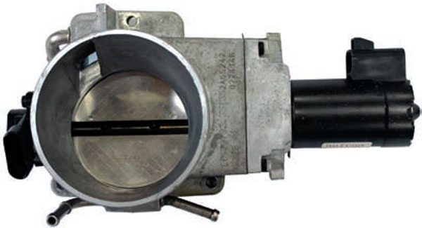The LS1 and LS6 Corvette throttle body was also used with the LS6 engine in the 2004–2005 Cadillac CTS-V. This throttle body looks similar to the 1999–2002 truck throttle body, but is not interchangeable as the TPS and actuator motor are on opposite sides of the housing. The Corvette throttle body has a six wire TPS mounted toward the bank 2 side of the engine and an electronic motor toward bank 1 side of the engine.