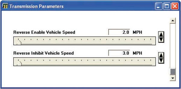 C.A.T.S OBD-II tuner software presents settings for the reverse lockout feature used with T56 manual transmission calibrations. This feature assists the driver by making it difficult to enter reverse gear while the vehicle is in motion.