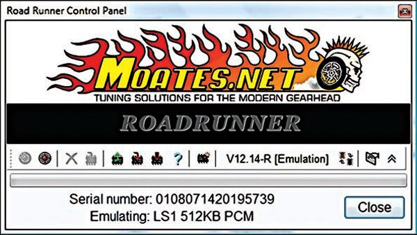 EFILive allows access to the Moates Emulation PCM through its tuning software. The user can retrieve a stored calibration, flash in a new calibration, or set the PCM for emulation mode to make real-time updates while the engine is running. If the setting option is enabled, the PCM makes instant changes as the tuner updates values within the tables in the tuning software; the vehicle experiences changes in engine/transmission behavior as updates are being made.