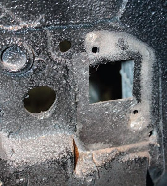 Next, locate where the engine side of the harness goes through the firewall. On the Corvette, we used the stock location. Be careful, as sometimes the chosen hole has another function.