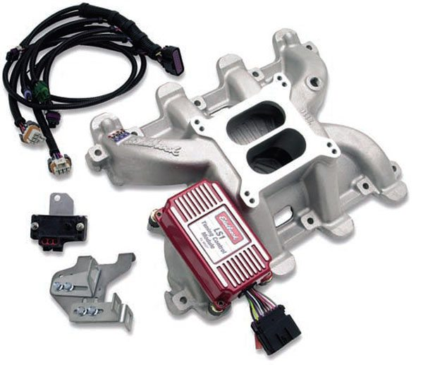 This carbureted intake and controller from Edelbrock comes with  a controller from MSD that mounts directly to the intake, eliminating mounting issues. (Photo Courtesy Edelbrock)