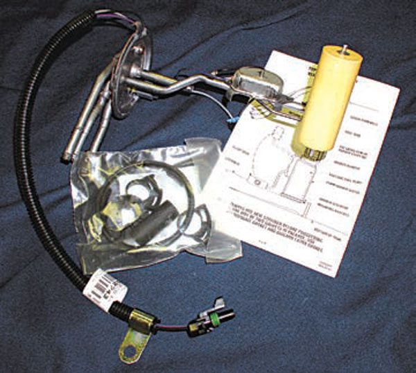 Most GM stock sending units, such as this one, can be modified with an electric pump, but the pump needs a filter sock touching the bottom of the tank.