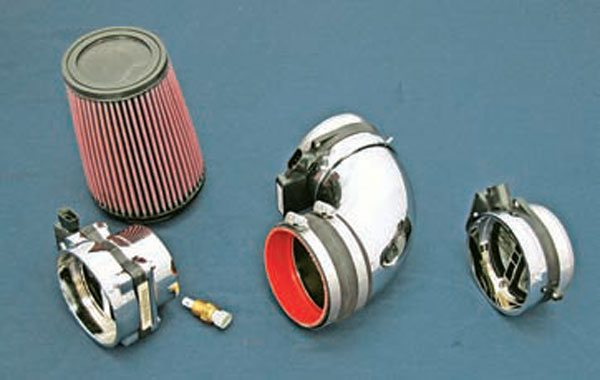 From left to right: K&N air filter, three- pin MAF, 90-degree elbow with three-pin MAF, and five-pin MAF. (Photo Courtesy Street & Performance)