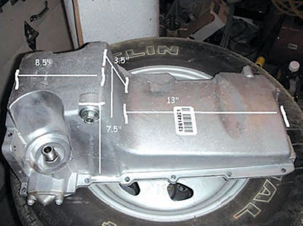 Some manufacturers have used the LH8 oil pan for all of their LS swap kits. For the universal-style adapter plates, it may or may not hang too low under the crossmember. Lowered muscle cars should stay away from this pan unless it is specifically required for a kit. (Photo Courtesy Paul Chiver)