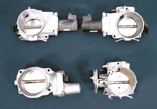 These throttle bodies are: 1997–2004 Corvette (top left), Vortec trucks (top right), drive-by-wire assembly (bottom left), and LS2 2005 GTO (bottom right). (Photo Courtesy Street & Performance)