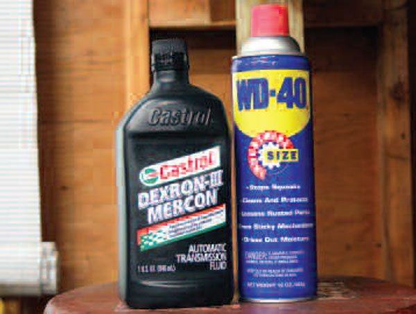 "Believe it or not, automatic transmission fluid is an excellent cleaning agent for metal. WD-40 easily dissolves many types of gunk and is also an excellent metal protectant, so it will come in handy in a variety of instances. Not shown is engine degreaser (often known simply by the ""Gunk"" brand name), which should only be used on non-metal items."