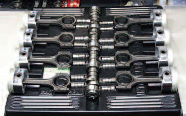 Goodson is a great source for parts organizer trays like this so-called block organizer. Piston/connecting rod assemblies are especially likely to tip over once assembled, so why not have them lying safely atop your worktable?