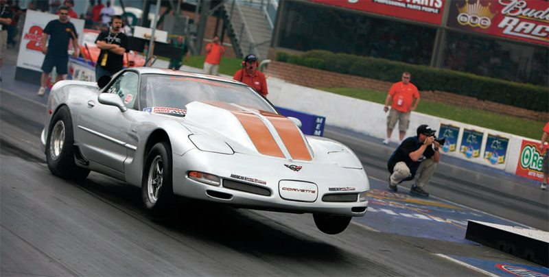 Paul Major used a tall-deck Warhawk block to go 7.11 at 204 mph in his 2001 Corvette Z06, one of the fastest times ever recorded by an LS engine. Paul's setup included the 454-cube (tall-deck) Warhawk short-block with C5R heads and twin 91-mm turbos.