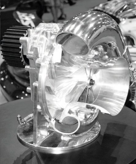 ProCharger's large compressors and cog-style belt-drive systems are designed for racing applications, with several compressors capable of 40 pounds of boost or more. It is these big blowers that are giving some turbo systems a run for the money in drag racing. This is ProCharger's F3R compressor.