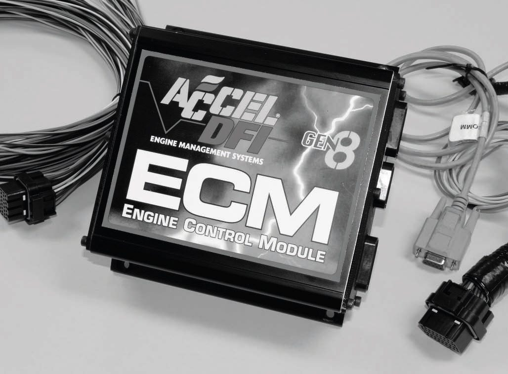 The ACCEL/DFI Gen 8 engine-control module is one of the most advanced engine controllers on the market and is capable of driving a variety of highperformance fuel injectors. It can fire up to eight ignition coils simultaneously. It features three integrated microprocessors capable of supporting engines spinning to 15,000 rpm and producing more than 3,000 hp. Additional highlights include: the capability to drive low-impedance fuel injectors common on racing engines; programmable inputs to support cooling fan control; 64 channel internal data logging, and more. Real-time programming software helps dial in combinations very quickly. There are several PNs of the Gen 8 for different applications; the one compatible with LS engines carries PN 75807.