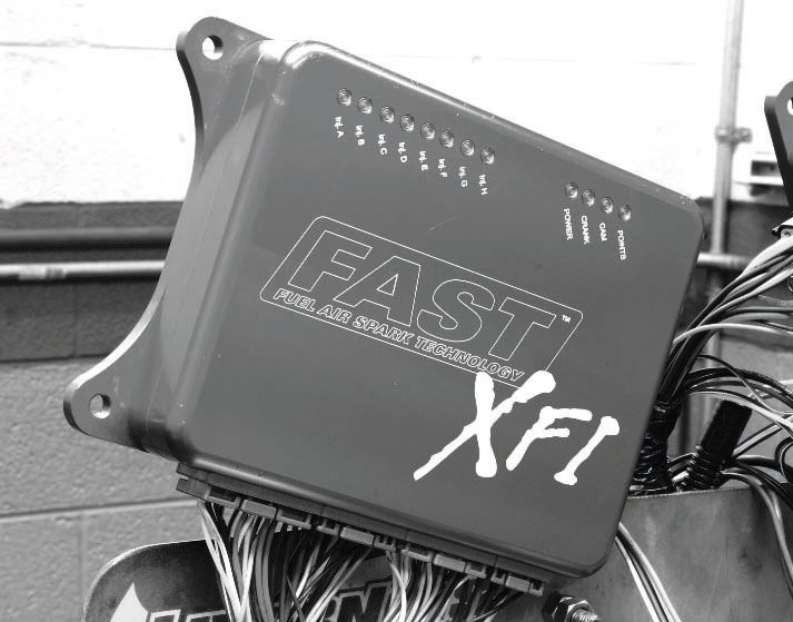 Another popular standalone engine controller is F.A.S.T.'s XFI system. Like the ACCEL/DFI Gen 8 controller, it handles high-performance, lowimpedance injectors and enables the use of up to 16 injectors (a trait factory controllers don't have). Another benefit is the XFI system's ability to store four separate engine mapping programs (tune ups), allowing the user to switch fuels (pump gas to racing gas or E85, for example) without having to re-flash the memory. The different tunes can be accessed with the simple flip of a switch.