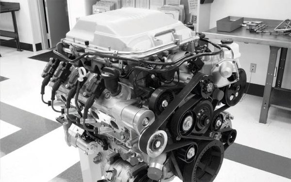 Although hidden under the lid of its integral intercooling systems, GM's LSA (CTS-V) and LS9 (Corvette ZR1) supercharged engines use an Eaton TVS supercharger. An LSA engine is shown here.