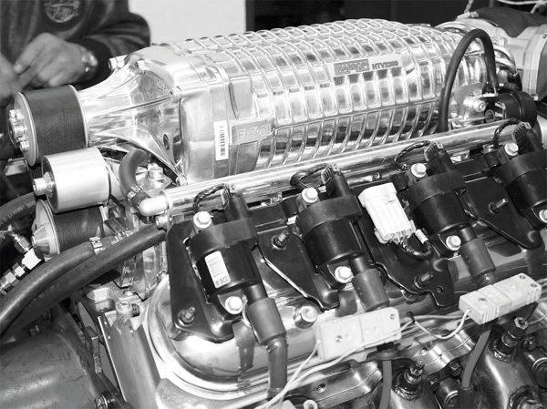 The large displacement of the 2.3-liter TVS compressor helps generate truly impressive performance. In the application seen here, a Harrop-supplied TVS blower was used on a 7.0-liter LS engine to make nearly 900 daily drivable horsepower on readily available pump gas. The engine was then stuffed into a Pontiac Solstice roadster by Thomson Automotive.
