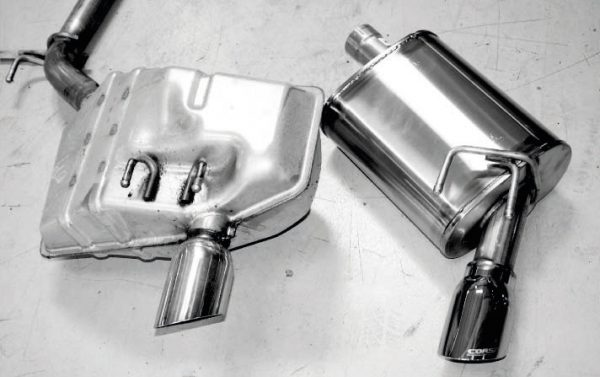 Here is a stock muffler (left) next to one from the Corsa system (right). The unique noise-canceling design that's a signature of Corsa was just what we wanted for our project, because it's very quiet at idle and low speeds, but definitely has a louder, sportier sound when the revs are up. Best of all, there's no drone on the highway.