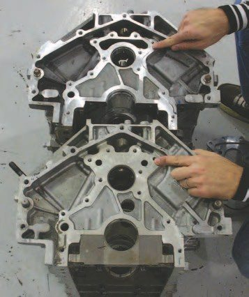 The 1997–'99 Gen III block (bottom) had these machined holes for a rear oil passage. This makes them less desirable than the 1999 and later blocks (top) with their open oil passage area