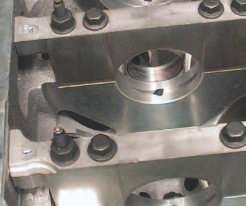 If you're trying to figure out what Gen III V-8 aluminum block to use, look for the ones with these cast-in-place slots in the base of the crank mains. These deal with high-RPM crankcase pressures better than previous block designs.