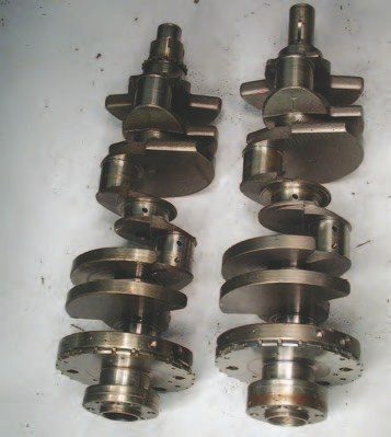 The factory cast cranks are extremely capable and common throughout the car Gen III line (left). The truck cranks (right) have a different rear seal surface width.