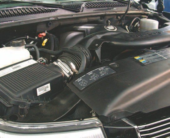 Installing an aftermarket air filter system is probably more involved on a full-size GM truck or SUV than many other Gen III-power GM vehicles, so that's the one we'll detail. Here's what the stock air filter system looks like.
