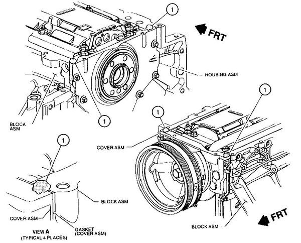 33. The Gen III V-8 was designed to have only planar mating surfaces. This means there aren't angular mating points, which can lead to oil leaks — like the common leak point for small-block Chevys where the oil pan seal arc meets the block rail. While the use of liquid sealer is rare on this engine, it is needed where the front and rear covers mate with the engine block and oil pan. Put four approximately 3/8-inch dollops of sealer at the four corners and then install the oil pan. (Illustration courtesy of GM)