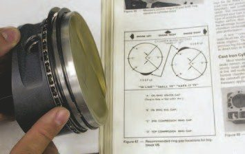 7. The rings are clocked on the pistons for startup using the GM Power Book recommendations. This puts the rings in the best location during startup to insure proper ring seating in the ring lands and on the bore surface.