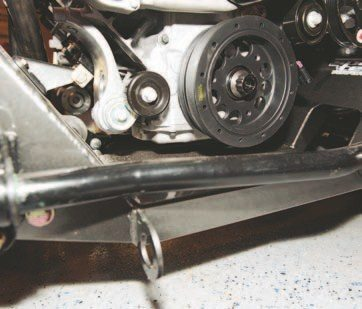 The sway bar does not interfere with the crank pulley the way the stock suspension does. The sway bar is mounted after the K-member.