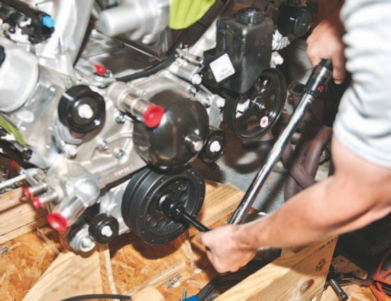 Use a torque wrench to install the new ARP crank bolt with 250 ft-lbs of force.