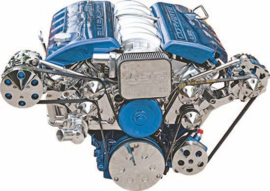 This version of the front-drive kit pushes the A/C and alternator out from under the engine and to the sides. Some like this look; others don't. (Photo Courtesy Street & Performance)