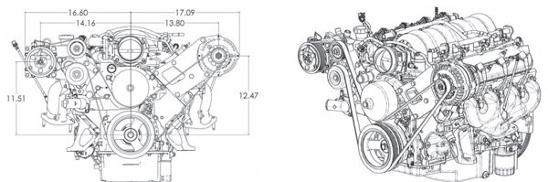 If you choose to forego the power steering on your vehicle (I highly discourage it) KWiK Performance has you covered. At left is a diagram of the dimensions and on the right is a good look at the final outcome. (Illustrations Courtesy KWiK Performance)