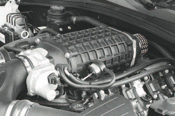 Here's the 550-hp engine of the Berger Camaro. It uses nothing more than a Magna Charger kit (non-TVS compressor) and the kit's supplied tuning upgrade. It is a simple upgrade that delivers a huge increase in performance.