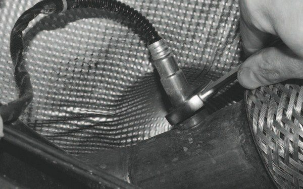 The fabricated portions of the exhaust system also included provisions for oxygen sensors: one on each side, after the turbochargers. This system also incorporates oxygen sensors before each turbocharger, to satisfy the parameters for wideband tuning.