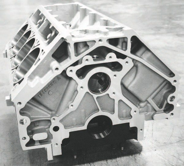 """The GM Performance Parts C5R cylinder block (PN 12480030) is very stiff and its specially machined, 356-T6M-alloy aluminum casting is X-rayed and """"hipped,""""which is a reference to the hot isostatic pressure process that pressurizes, heats, and cools the casting to virtually eliminate any chance for porosity. It is a timeconsuming procedure that contributes to the block's nearly $6,000 list price. But for all its strength, the C5R was designed for about 750 to 900 naturally aspirated horsepower and, thus, does not include six-bolt head clamping as does the LSX block."""
