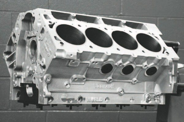 World Products' Warhawk LS7X cylinder block is offered in four-bolt and six-bolt configurations, with the six-bolt versions (standard-deck 9.240 inches and tall-deck 9.800 inches) being the logical choice for forced induction. GM cylinder heads bolt right up to the standard four-bolt locations, but the six-bolt configuration is exclusive to World Products. This means using the World's own six-bolt LS cylinder heads, which use 7/16-inch studs in all positions. The iron cylinder liners can be machined to 4.155 inches that, with the talldeck block's 4.500-inch stroke capability, enables a 488-ci (8.0-liter) displacement. On the bottom side are billet-steel main caps that used ARP 200,000-psi main studs.