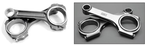 Typical example of I-beam (left) and H-beam (right) are shown here. In terms of strength, they are comparable when made of the same material, offering similar compression strength. The differences, then, are more subtle, and selecting one design over the other comes down to other engine assembly factors. Typically, an H-beam rod is lighter than an I-beam, but its big end is generally larger, too, which can mean a greater chance for cylinder block interference on a long-stroke combination. If block interference is not a concern, the extra rev capability enabled by lighter H-beam rods is preferred to offset the other higher-mass, heavy-duty rotating parts. Also, most professional builders insist on using a solid bushing on the small end, rather than the more common and cheaper split bushing.