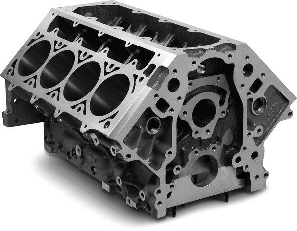 At 250 pounds, the iron GMPP tall-deck LSX block is no lightweight. The benefit of all that bulk is that it's arguably the strongest aftermarket block available. It can handle more than 2,500 hp, and its thick cylinder walls can be bored to 4.250 inches. (© GM Corp.)