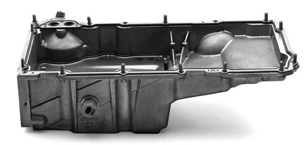 LS-series engines use the oil pan as a structural component of the block to reduce noise and vibrations. Hence, the pans are very rugged in design and built from cast aluminum. The F-body oil pan, originally installed on 1998 to 2002 Camaros and Firebirds, is the most popular with engine swappers, due to its rear sump location and generous ground clearance.