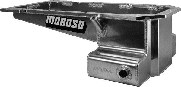 Companies, such as Moroso, Canton, and Milodon, offer aftermarket oil pans built from sheet metal that fit a variety of vehicle chassis for both street/strip and road racing applications. Since road race machines sit low to the ground, oil pans designed for these cars have T-shaped sumps, which provide the necessary oil capacity without compromising ground clearance.