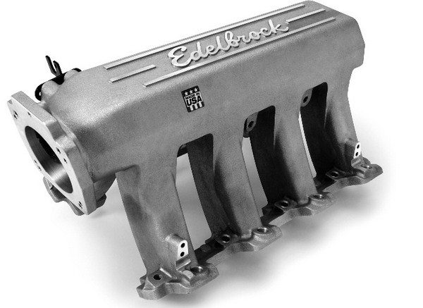 Edelbrock's Pro-Flow XT intake manifold for cathedral-port heads does away with the factory-style, cross-ram setup for a more conventional runner design. The result is a manifold with copious plenum volume and long tapered runners for a broad powerband. Provided enough hood clearance, Edelbrock advertises a 30-hp gain over a stock LS6 intake. (Photo courtesy of Edelbrock)