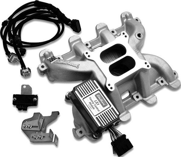 Thanks to Edelbrock and MSD, it's now possible to run a carburetor on an LS-series small-block. Edelbrock's carbureted LS intake manifolds feature an integrated MAP sensor. When a manifold is combined with the MSD ignition box, which has a harness that plugs into the factory coil packs and camshaft and crankshaft position sensors, the result is an LS small-block that doesn't need a factory computer. (Photo courtesy of Edelbrock)