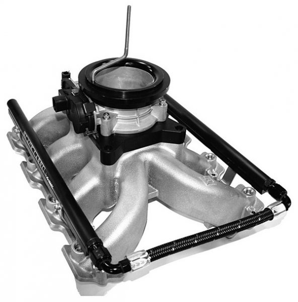 Just because you bolt a carbureted intake to an LS small-block doesn't mean you have to run a carburetor. Mast Motorsports' Retro LS intake manifold includes an adapter that allows for the mounting of a throttle body onto the carburetor pad. The singleplane intake comes with runners drilled for fuel injectors. Mast offers the complete kit with the manifold, adapter, injectors, and fuel rails.