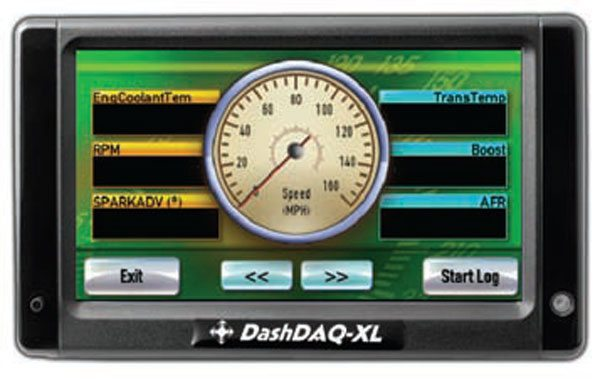 The DashDAQ XL is an advanced OBD-II scan tool that allows for retrieval of GM-specific DTCs. It also features generic and enhanced PID selection through customization of gauge settings, data logging, and GPS navigation. (Photo Courtesy Drew Technologies, Inc.)