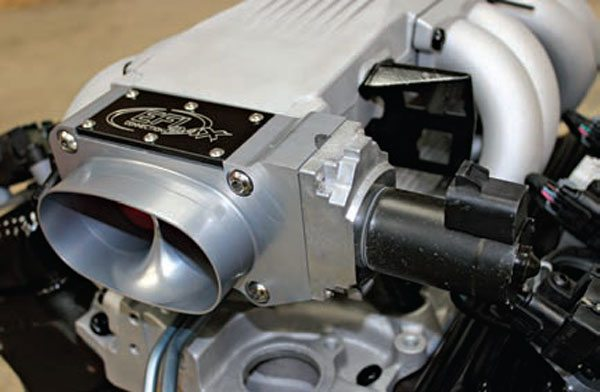 This 52-mm electronic throttle body is installed on a TPI engine. The TPI plenum was slightly ported to line up with the 52-mm throttle bore openings. Flowing approximately 920 cfm, this throttle body is adequate for engines making 325 to 480 hp.