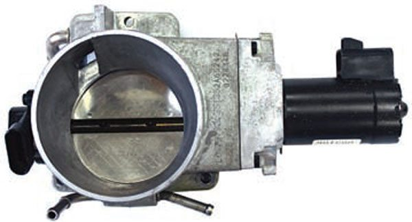 The LS1 Corvette throttle body was the first electronic throttle body used with Chevrolet V engines. The throttle position sensor is mounted on the bank 2 side of the engine and the throttle shaft motor is mounted on the bank 1 side of the engine. The blade on this throttle body measures approximately 75 mm in diameter.