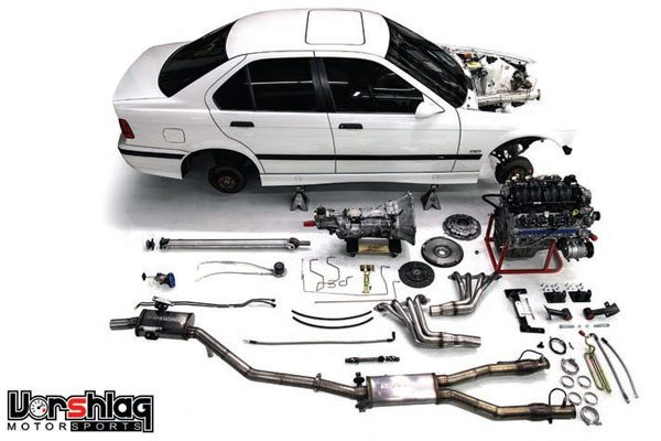 Vorshlag Motorsports makes many LS swap kits for BMWs. This one is designed to swap Gen III/IV engines into E36 BMWs (E-series). The kit is available in many stages from bare-bones engine and transmission mounts to everything you need, including headers and driveshaft. (Photo Courtesy Vorshlag Motorsports)