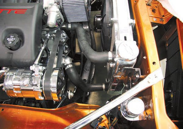 Most LS engine adapters position the engine closer to the radiator. Many owners opt to use an electric fan so this clearance is not needed. (Photo Courtesy Street & Performance)