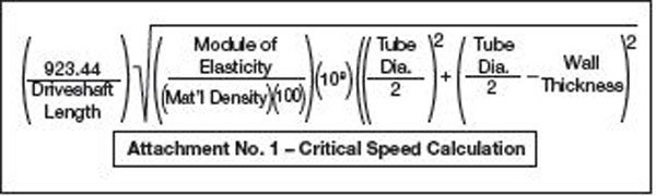 Reaching critical speed causes first-order bending. This complex formula is used to calculate the critical speed for every driveshaft. All driveshafts have a critical speed, depending on their length and diameter. The shaft material elasticity is an important part of the equation. This is the material's ability to resist non-permanent elastic deformation. For a driveshaft, this translates into bending. The higher the modulus of elasticity (MOE), the less it bends. Getting these numbers can be a little tricky because most shops keep the specific numbers they use as trade secrets. For steel, the basic MOE is 30, aluminum is 10, and carbon fiber depends on the manufacturing processes used, so no general numbers are available.