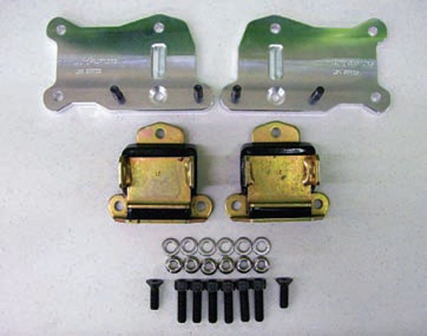 These mounts from Autokraft feature a recessed area milled into the adapter plate, allowing the hump on some small-block Chevy motor mounts to fit without any additional work.