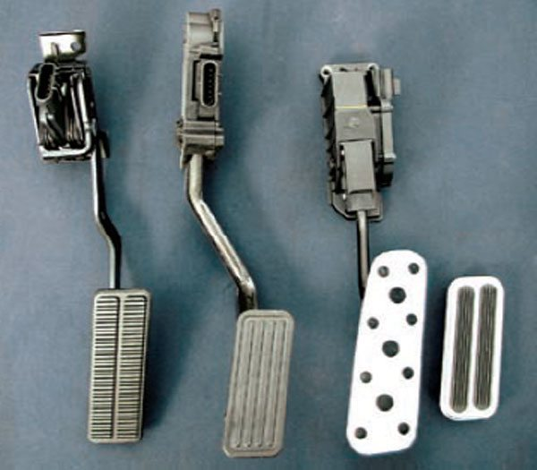 There are several different drive-bywire pedals. Shown from left to right: a 2005–up Corvette, 2005–2006 SSR, 2005–2006 GTO, and Lokar pedal replacement pad. Not shown are pedals for the 1997–2004 Corvette, CTS-V, 2007 Trailblazer, and the rest of the trucks, which interchanged through the years. (Photo Courtesy Street & Performance)