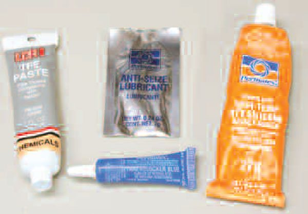 """You can't put together an LS without these: thread sealant (also known as pipe thread compound or """"Teflon paste""""), threadlocker (medium-strength recommended), RTV silicone, and anti-seize."""